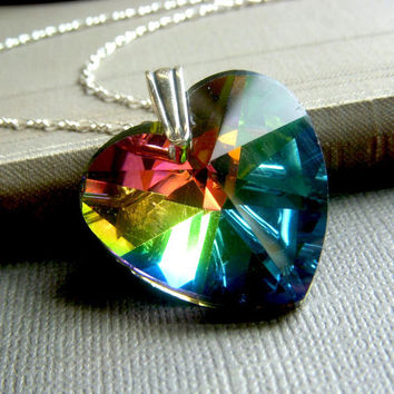 Crystal Heart Necklace on Sterling . Large Colorful AB Aurora Borealis Pendant . Over the Rainbow