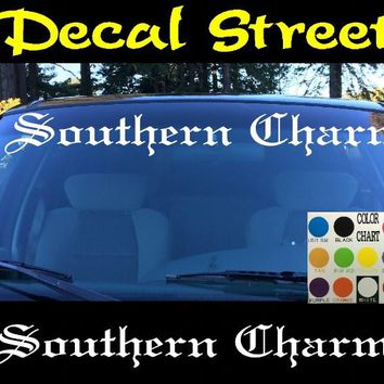 Southern Charm Windshield Visor Die Cut Vinyl Decal Sticker Diesel Old English Lettering