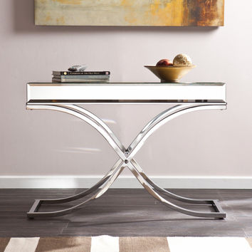 Southern Enterprises Ava Mirrored Console Table - Chrome