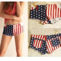 USA Flag Star And Stripe Denim Shorts