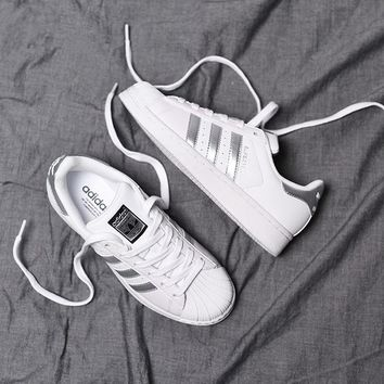 """Adidas"" Superstar Shell toe White/Silver Casual Sneakers"