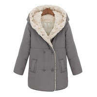 New Fashion Women's Winter Wool Hooded Cotton Padded Coat Medium Style Thicken Warm Outwear Cotton Coat - Available 2 Great Colors!