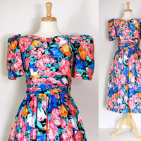Vintage 80s Dress / LANZ Originals  / Garden Party Dress / Floral Cotton Chintz / Spring Summer / 80s Fashion