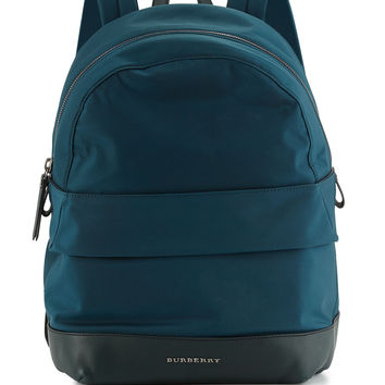 Tiller Kids' Zip-Top Nylon Backpack, Teal - Burberry