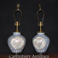 Canonbury - Pair Chinese Porcelain Table Lamps Lights Painted