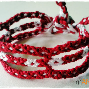 Fantasia Red and White Knotted Friendship Bracelet - Woven Wristband - Support our Cause
