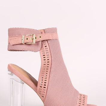 Qupid Perforated Suede Chunky Lucite Heeled Mule Booties