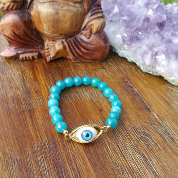Original Collection - Evil Eye Aqua Beaded Charm Bracelet