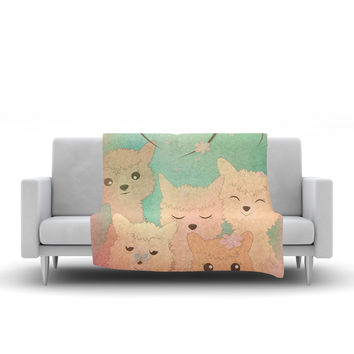 "Graphic Tabby ""Spring Alpacas"" Pastel Animals Fleece Throw Blanket"