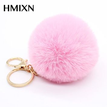 Big faux leather 8CM Fur PomPom KeyChain Rabbit Hair Bulb Bag pom pom Ball key chain Pendant poret clef for women Lovely Fluffy