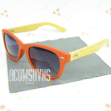 Wooden Sunglasses | Orange Wood Sunglasses - Bamboo Wood Sunglasses - Wood Eyewear Wayfarers | Hand Made from Recycled Wood