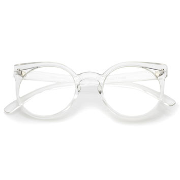 Retro Modern Translucent Round Clear Lens Glasses C026