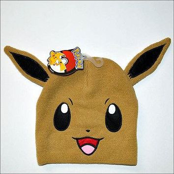 Nintendo Pokemon Eevee Bigface Beanie w/ Ears Knit Ski Cosplay Cap Hat OFFICIAL