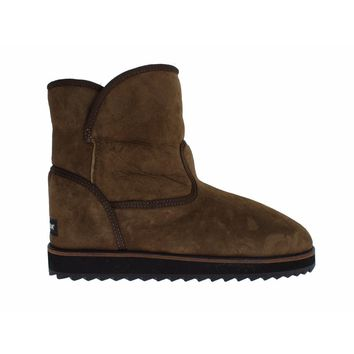 Dolce & Gabbana Green Leather Merino Wool Flat Warm Boots Shoes