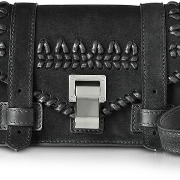 Proenza Schouler PS1+ Black Suede Mini Crossbody Bag w/Crochet