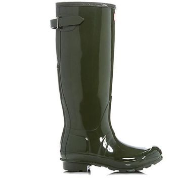 Hunter Tall Adjustable Back   Gloss Dark Olive Tall Rain Boot