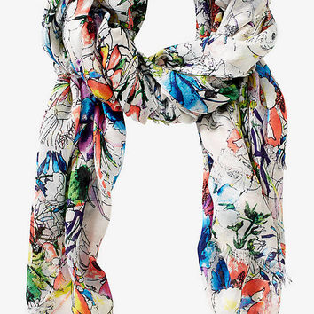 WATERCOLOR FLORAL OBLONG SCARF from EXPRESS