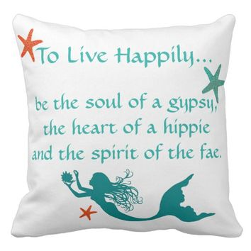 Starfish & Mermaid Coastal Pillow