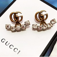GUCCI Fashion New Letter Diamond Long Earring Accessories Golden