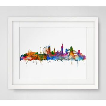 London  Wall Hanging Skyline Wall Decor Without Frame London  Art Print Watercolor Fine Art Paper London Skyline City Poster Wa