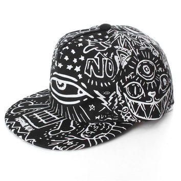 Men Women Hip-Hop Baseball Flat Bill Hat Graffiti Hippie Snapback Adjustable Cap