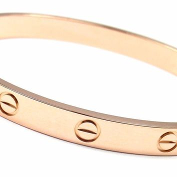 One-nice? Authentic! CARTIER 18k Rose Gold Love Bangle Bracelet Size 17 New System Cer
