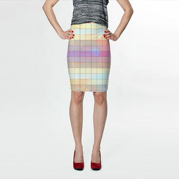 Pastel Skirt - FREE shipping to USA colorful skirt polyester spandex fabric tight skirts knee length summer spring colors