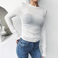 Lace Up Women Blouse Shirt Tops Basic Casual Shirts Blouses Thin Solid Blusa Mujer 8 colors