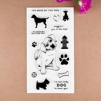Cute Dog Transparent Clear Silicone Stamp/Seal for DIY scrapbooking/photo album Decorative clear stamp sheets