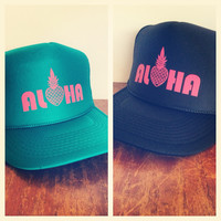 NOMAD Aloha With Pineapple Trucker Hat Black or Teal
