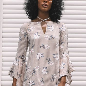 Free Falling Taupe Bell Sleeve Dress