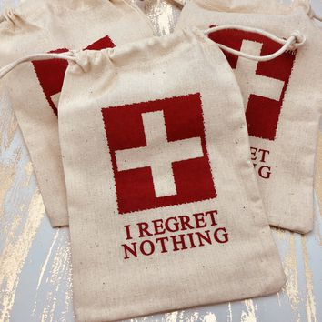 Hangover Kit Bags - I Regret Nothing Hangover Bags - Bachelorette Party Favors Bags