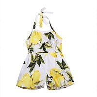 Baby Clothing Toddler Baby Kids Girls lemon Belt Halter Jumpsuit Casual Outfits Clothes