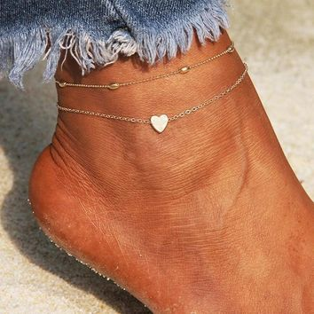 Heart Cute Women Ankle Bracelet Ladies Anklet Ankle Chain Leg Jewelry Gold Silver Color