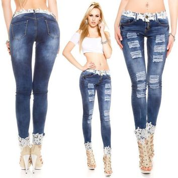 Womens Trendy Rip Skinny Denim Jeans