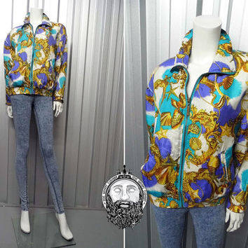 Vintage 90s Grunge Silk Bomber Jacket Baroque Jacket Scarf Print Turquoise Blue and Gold Rope Print Versace Inspired Hipster Clothing 1990s