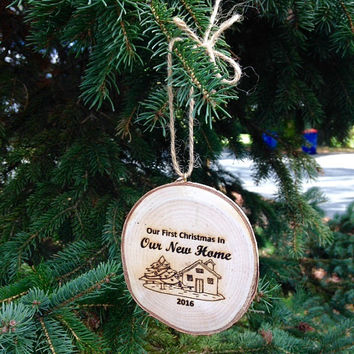 Christmas Ornament, Rustic Ornament, First Christmas In Our New Home Christmas Ornament, Wood Slice Ornament, New Home, Wood Ornament