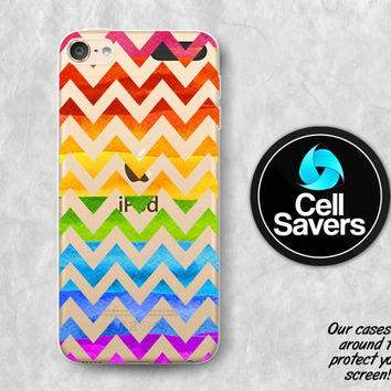 Rainbow Chevron Clear iPod 5 Case iPod 6 Case iPod 5th Generation iPod 6th Generation Rubber Case Gen Clear Case Colorful Girly Pattern Cute