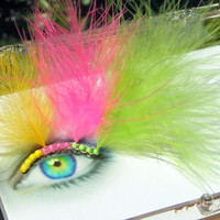 Rave Feather False Eyelashes w/ Down Feathers - Neon Fluff Eyelash Jewelry