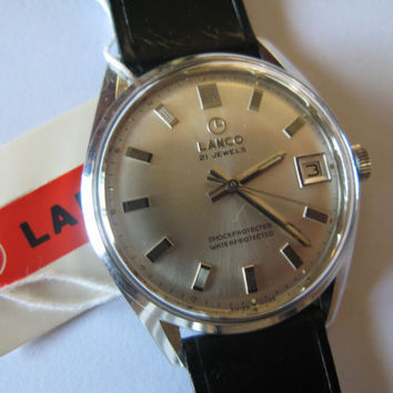 Vintage rare Lanco Swiss watch 443 21j NIB with tags men's wristwatch - Gift for him -Anniversary gift