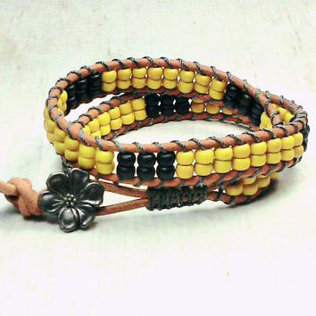 Beaded Wrap Bracelet - Wrap Around - Mustard Bead Bracelet - Beaded Bracelet - Mothers Day Gift - Bohemian Bead Bracelet - Chic Bracelet