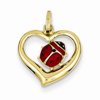 14k Yellow Gold Enameled Ladybug in Heart Charm