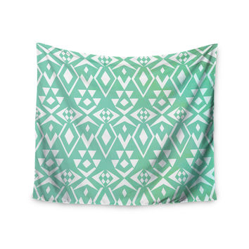 "Pom Graphic Design ""Ancient Tribe"" Seafoam Wall Tapestry"