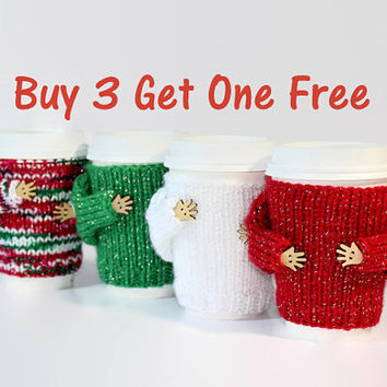 Christmas cup cozy set of 4. Secret Santa gift. Travel mug cozy. Knit mug hug. Office coffee cozy. Holiday cup sleeve. Starbucks cup holder