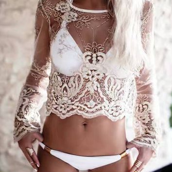 Feiterawn 2017 Women Summer Sexy See Through Beach Top Cover Up Long Sleeve Embroidery Short Pullover Bikini Cover Ups DY1370