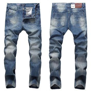 Preppy Pure Blue Men`s Jeans High Quality Regular Straight Jeans Denim Trousers Mid Stripe Dsel Brand Jeans Men 31-40 D616