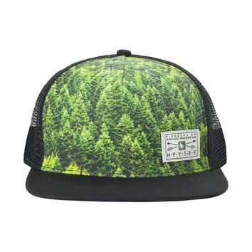 Hippy Tree Forest Trucker Hat Black, One