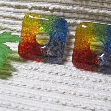 Gay Pride Jewelry, Gay Pride Rainbow Bead, Fused Glass Square Donut Focal Bead, Gay Pride Jewelry Making Supplies,  Handmade Glass Beads