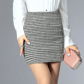 Pencil Skirts 4 Colors Plus size S-3XL High Waist Zipper Saias Kilt Womens Autumn Winter Woolen Mini Tartan Check Plaid Skirt