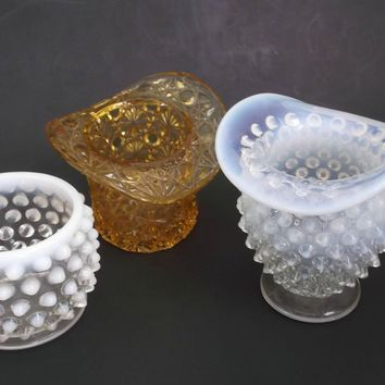 Three Vintage Glass Toothpick Match Holders Opalescent Button and Daisy